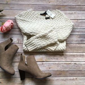 Express Cream Textured Knit Sweater